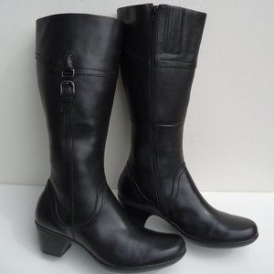 SIZE 12.Clarks Tall Black Leather riding Boots